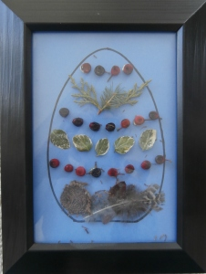 Framed example of Egg Art pictutre