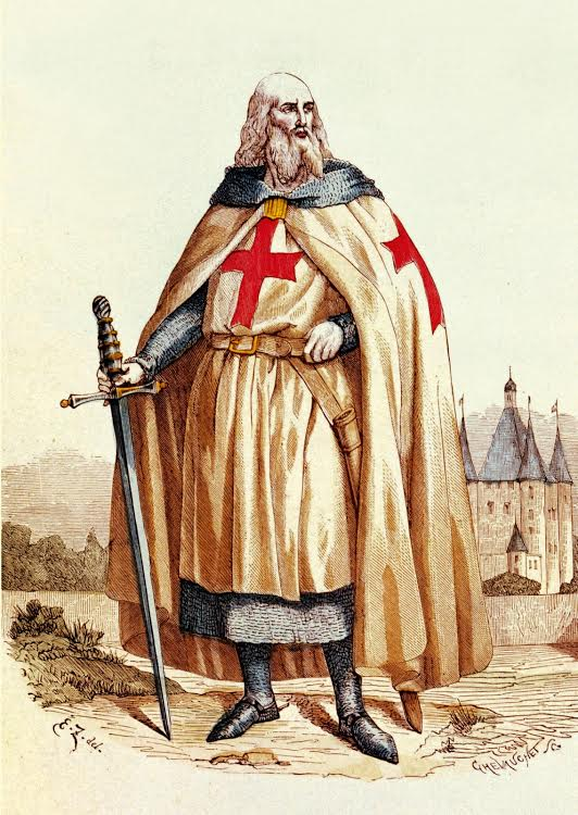 Grand Master Jacques de Molay (with Tour du Temple in the background)