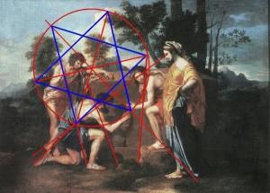 Hidden Hexagram in Poussin Et in Arcadia Ego Painting