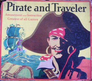 old board game box cover pirate and traveler