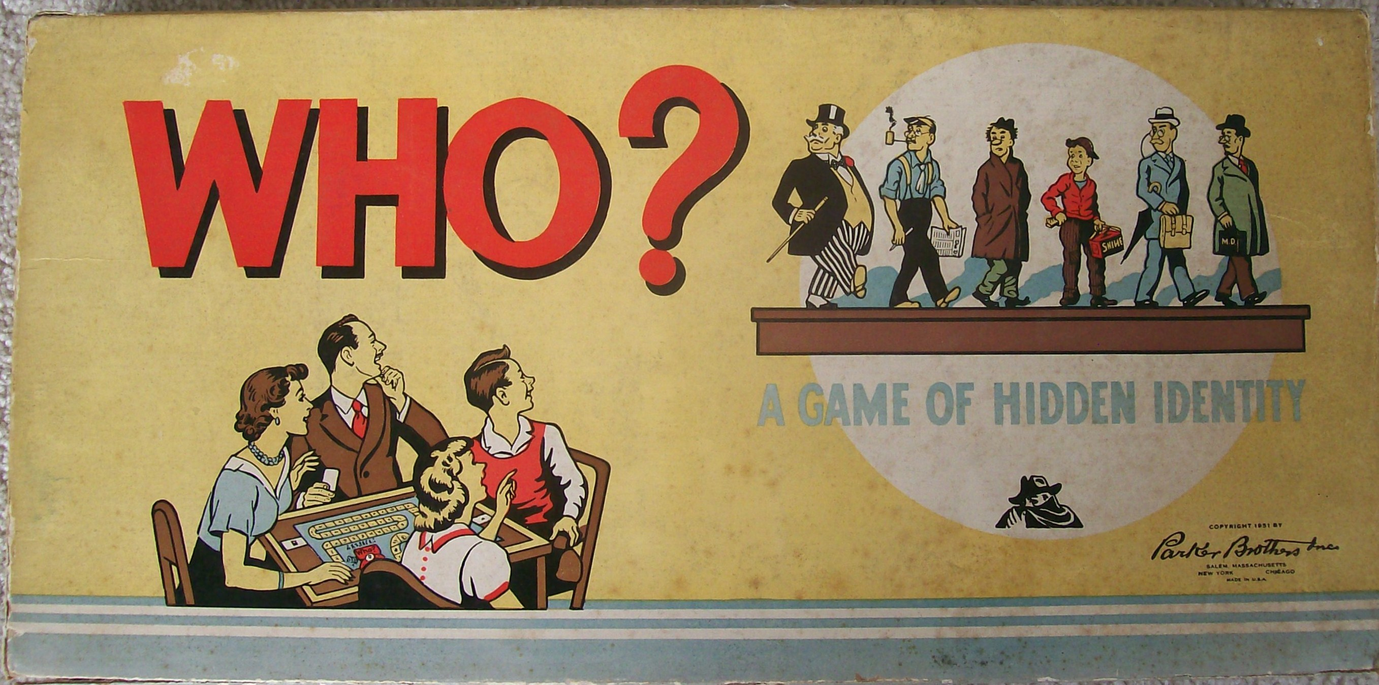 Parker Brothers 1951 Old Mystery Game Of Who Mysterious