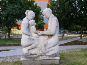 Parents with child Sculpture in Bratislava