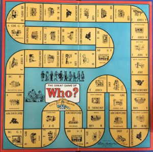 WHO? old game board parker brothers
