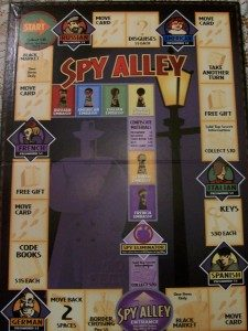 game night ideas from MW spy alley game board