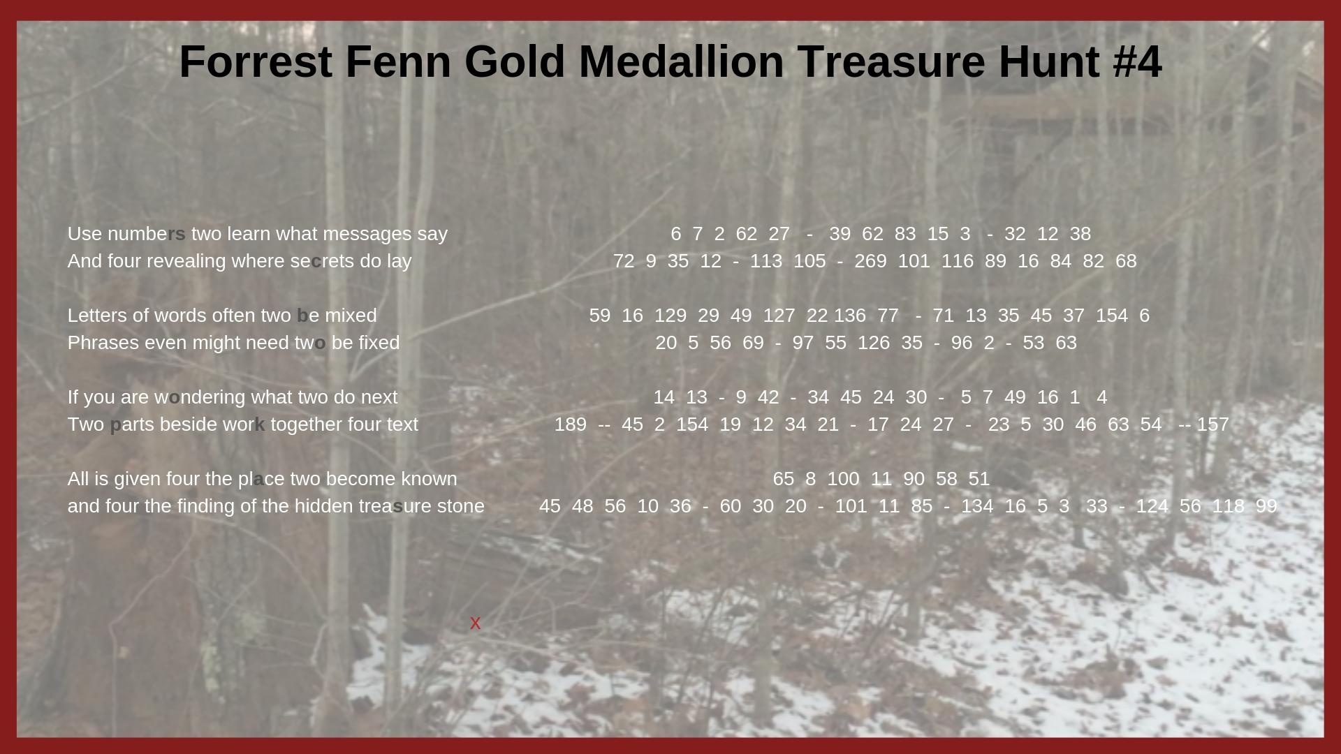 Forrest Fenn Gold Medallion Treasure Hunt #4 Clues – Mysterious Writings